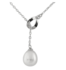 Silver Rhodium Plated Freshwater Pearl Lariette Necklace