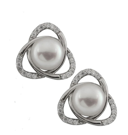Silver Rhodium Plated CZ Pearl Earrings