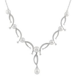 Silver Rhodium Plated Pearl and CZ Necklace