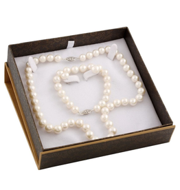 Pearl (8-9mm) Earrings, Necklace and Bracelet Freshwater Pearl Boxed Gift Set