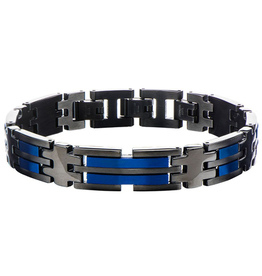 Inox Stainless Steel Matte Black and Blue Plated Link Bracelet
