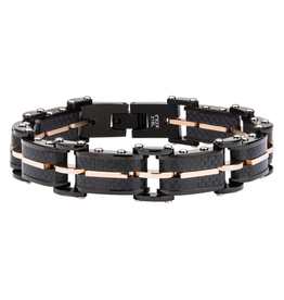 Inox Stainless Steel Solid Carbon Graphite and Rose Gold Plated Link Bracelet