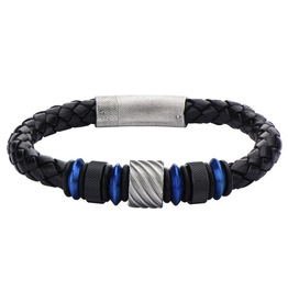 Inox Black Braided Leather Bracelet with Black and Blue Plated Stainless Steel Beads