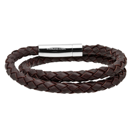 Inox Double Genuine Brown Leather Braided Bracelet with Stainless Steel Closer