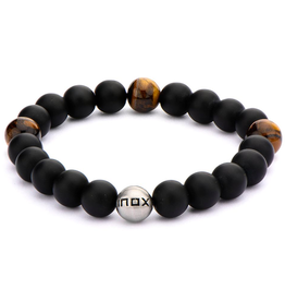 Inox Matte Black Onyx and Tiger's Eye Beaded Bracelet with Stainless Steel