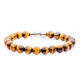 Inox Tiger's Eye Beaded Stretch Bracelet with Stainless Steel