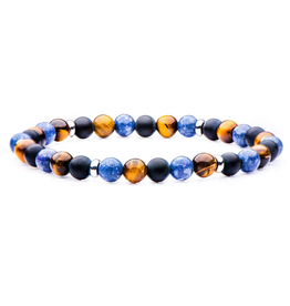 Inox Matte Black Agate, Blue Coral and Tiger Eye Beaded Stretch Bracelet with Stainless Steel