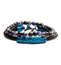 Inox Steel Hammered Blue Stackable Bracelet with Beads and Black Leather
