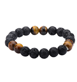 Inox Men's Black Lava and Brown Tiger Eye Beads Bracelet.