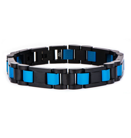 Inox Steel Black and Blue IP Self-Adjustable Link Bracelet