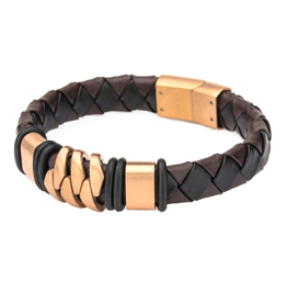 Inox Men's Rose Gold IP with Brown Leather Bohemian Bracelet