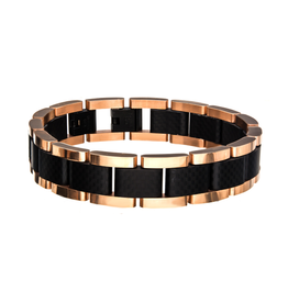 Inox Steel Black and Rose IP Link Bracelet with Carbon Fiber