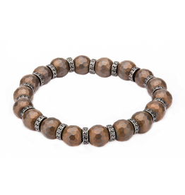 Inox 8mm Hematite Hexagon Pattern Stone Bracelet with Antiqued Spacer and Elastic Stretch Wire.