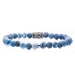 Inox Beaded Stretch Crack Blue Agate Bracelet with Stainless Steel