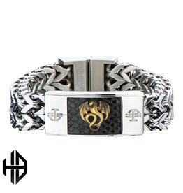 Antique Stamped Brass Dragon & Steel Polished ID Link Bracelet