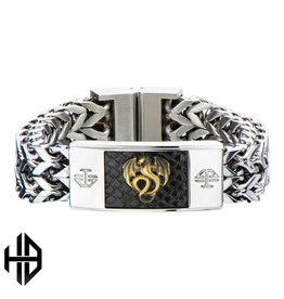 Hollis Bahringer Steal ID Link Bracelet with Stamped Brass Dragon