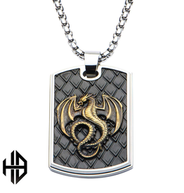 Hollis Bahringer Steel Tri Tone Dog Tag Pendant with Stamped Brass Dragon