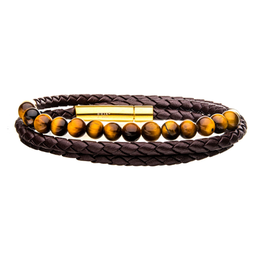 Inox Double Wrap Brown Leather Tiger Eye Beads Bracelet with Stainless Steel Clasp