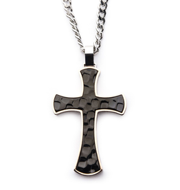 Inox Steel Tri-Tone Hammered Cross Necklace