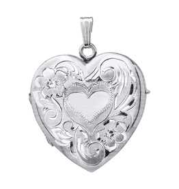 Silver 4 Picture Fancy Rhodium Plated Floral Heart Locket
