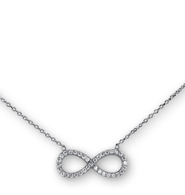 Sideway Infinity CZ Sterling Silver Necklace