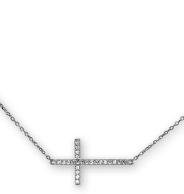 Sideway Cross CZ Necklace Sterling Silver Rhodium Plated Necklace
