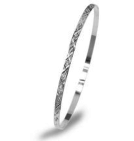 White Gold Flat Diamond Cut Bangle (3mm)