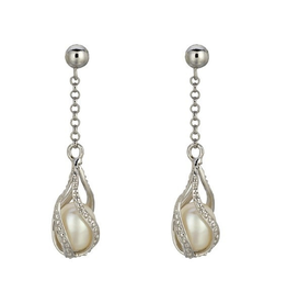 Silver Rhodium Plated CZ Pearl Dangle Earrings