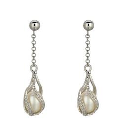 Sterling Silver Dangle Pearl CZ Earrings