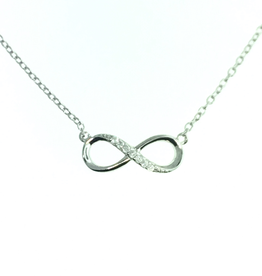 Silver Rhodium Plated Sideway Infinity Necklace