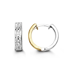 10K Yellow and White Gold Diamond Cut Huggie Earrings