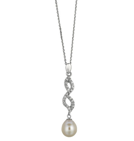 Silver Rhodium Plated Pearl and CZ Pendant