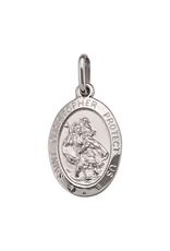 10K White Gold (Small) St. Christopher Oval Medallion Pendant