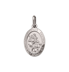 White Gold (Small) St. Christopher Oval Medallion Pendant