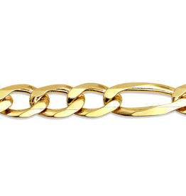 10K Yellow Gold Men's 6.7mm Figaro Bracelet 8""