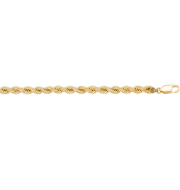 10K Yellow Gold (3mm) Hollow Rope Bracelet 7""