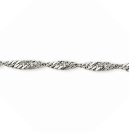 Silver Rhodium Plated Singapore Bracelet