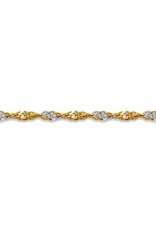 """10K Yellow and White Gold (2mm) Singapore Bracelet 7"""""""