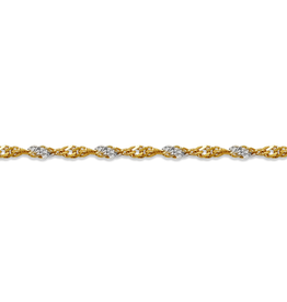 """10K Yellow and White Gold (1.7mm) Singapore Bracelet 7"""""""