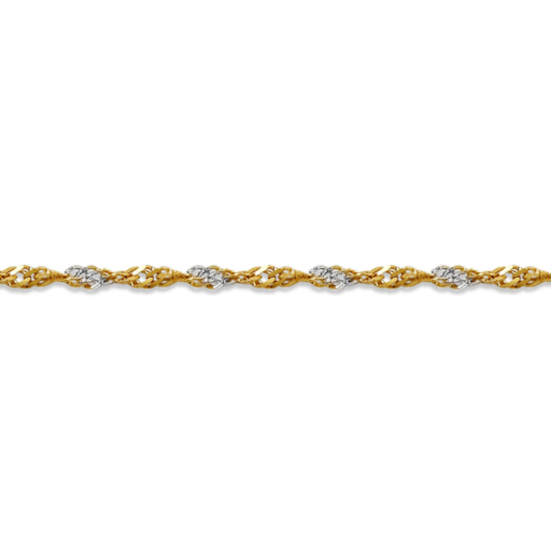 10K Yellow and White Gold (1.7mm) Singapore Bracelet 7""