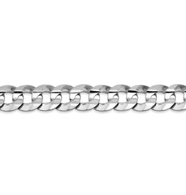 "White Gold 5.5mm Mens Curb Bracelet 8"""