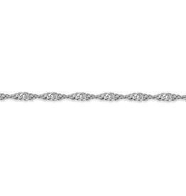 """10K White Gold (1.7mm) Singapore Bracelet 7"""""""
