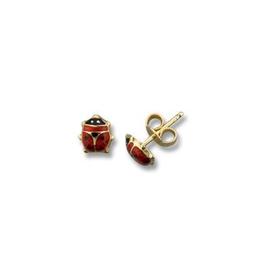 Ladybug Enamel Earrings Yellow Gold (6mm)