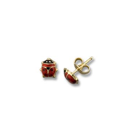 Yellow Gold Ladybug  Baby Earrings