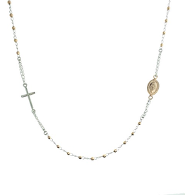 Sterling Silver Two Tone Rosary Necklace