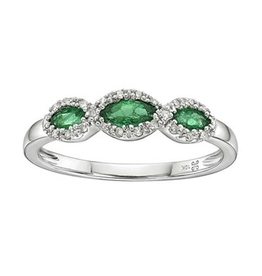 White Gold Emerald Diamond Band