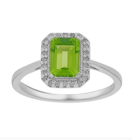 Emerald Cut Peridot and Diamond Halo Ring White Gold