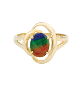 Korite Rosalind Ammolite Yellow Gold Ring