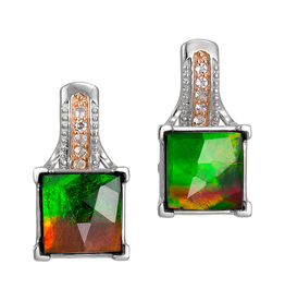Korite Korite Raye Ammolite Sterling Silver Topaz Earrings