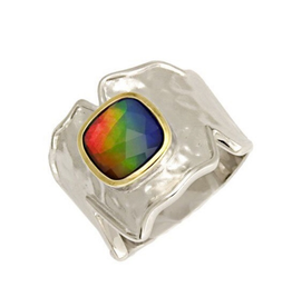 Korite Korite Taylor Ammolite Two Tone Ladies Sterling Silver and Yellow Gold Plated Ring